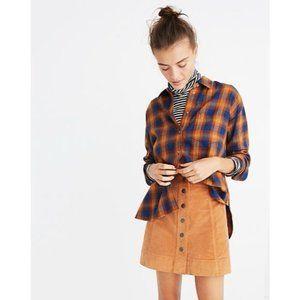 Madewell Blue Orange Plaid Button Down Shirt